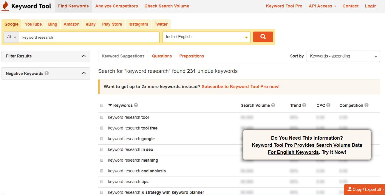 keywordtool.io tool for longtail keywords